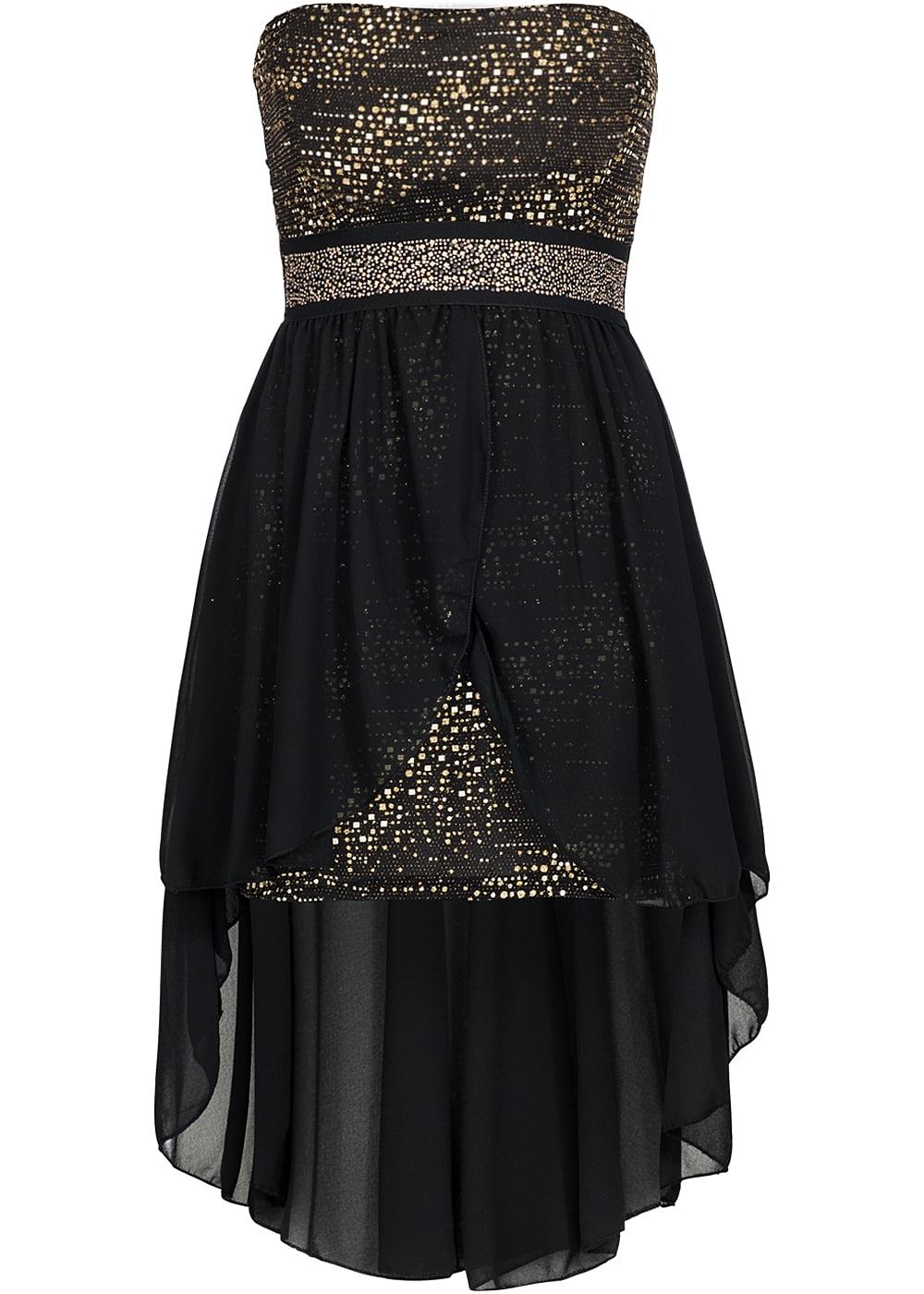 Styleboom Fashion Damen Partykleid Bandeau Vokuhila Glitzer schwarz ...
