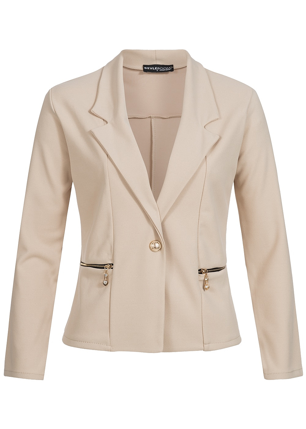 styleboom fashion damen blazer 2 taschen 1 knopf leichtes material beige 77onlineshop. Black Bedroom Furniture Sets. Home Design Ideas