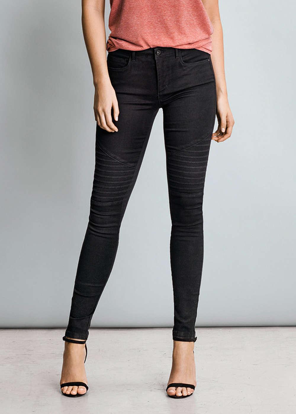 only skinny jeans noos biker style schwarz 77onlineshop. Black Bedroom Furniture Sets. Home Design Ideas