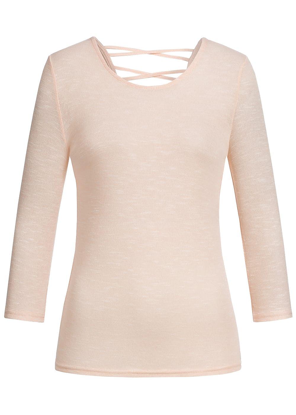 hailys damen shirt 3 4 rmel r ckenausschnitt mit schn rung rosa 77onlineshop. Black Bedroom Furniture Sets. Home Design Ideas