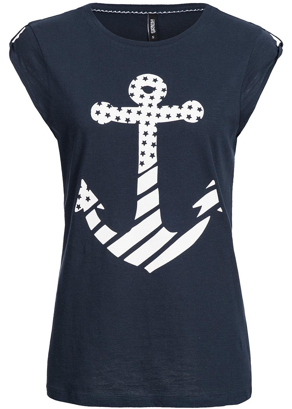 hailys damen t shirt kurzarm anker print navy weiss 77onlineshop. Black Bedroom Furniture Sets. Home Design Ideas