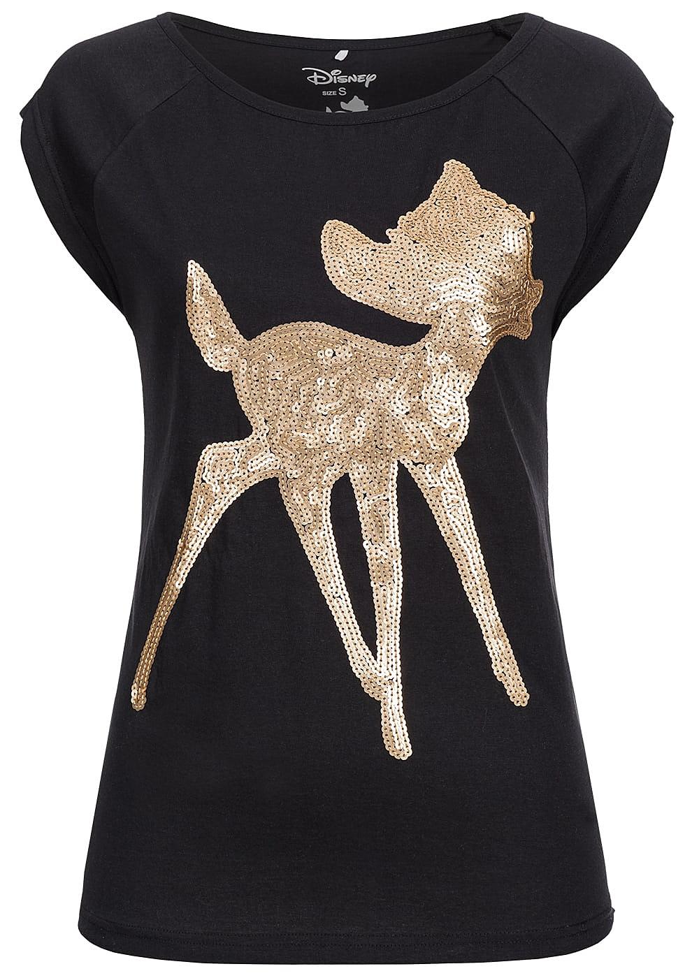 hailys damen t shirt bambi pailletten schwarz 77onlineshop. Black Bedroom Furniture Sets. Home Design Ideas
