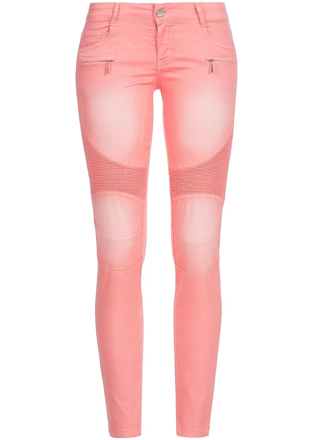 5329a210e9c8fe Seventyseven Lifestyle Hose Damen Jeans 5-Pockets 2 deko Zipper Biker Style  coral pink - 77onlineshop