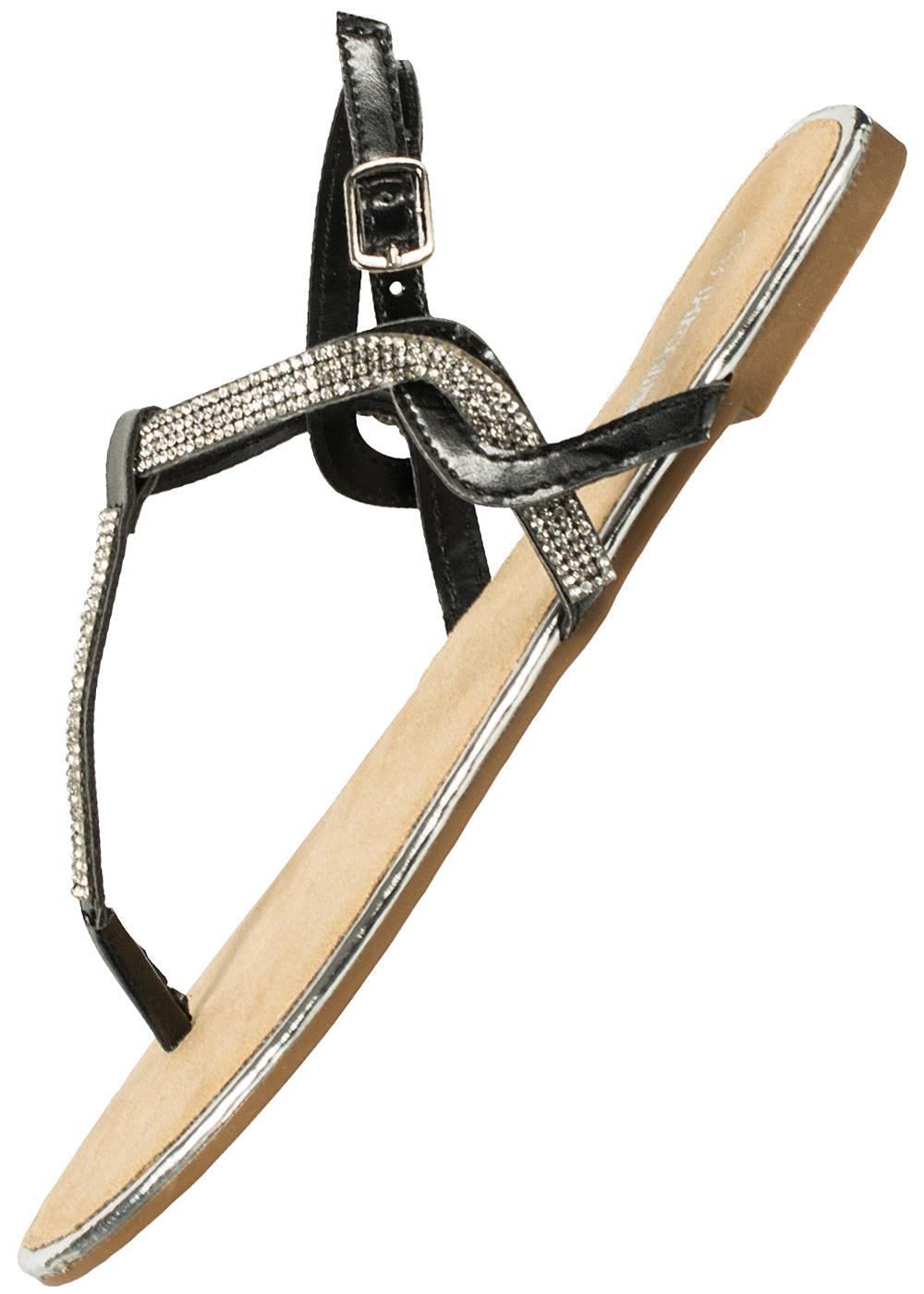hailys damen sandalette zehensteg strasssteine schwarz 77onlineshop. Black Bedroom Furniture Sets. Home Design Ideas