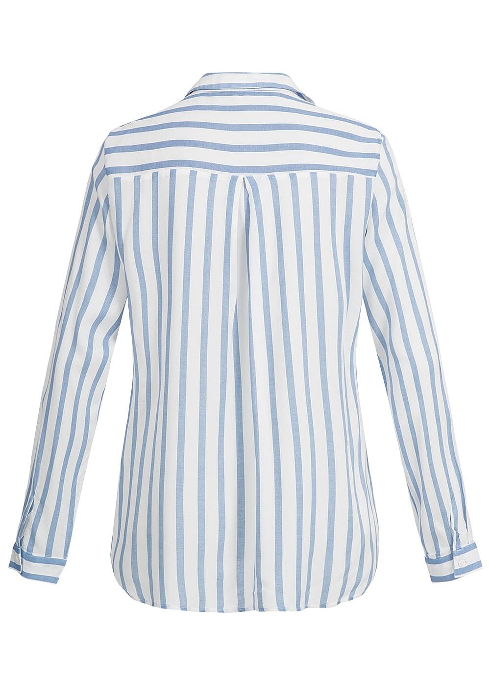 only damen bluse noos brusttasche knopfleiste gestreift blau weiss 77onlineshop. Black Bedroom Furniture Sets. Home Design Ideas