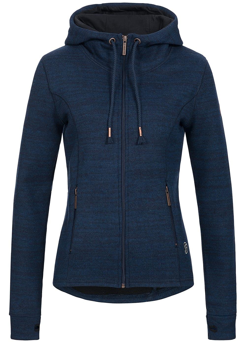 aiki damen zip hoodie strick 2 taschen mit zipper tunnelzug navy melange 77onlineshop. Black Bedroom Furniture Sets. Home Design Ideas