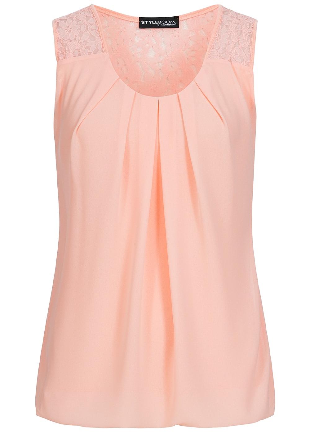 styleboom fashion damen chiffon top spitze unifarben rosa 77onlineshop. Black Bedroom Furniture Sets. Home Design Ideas