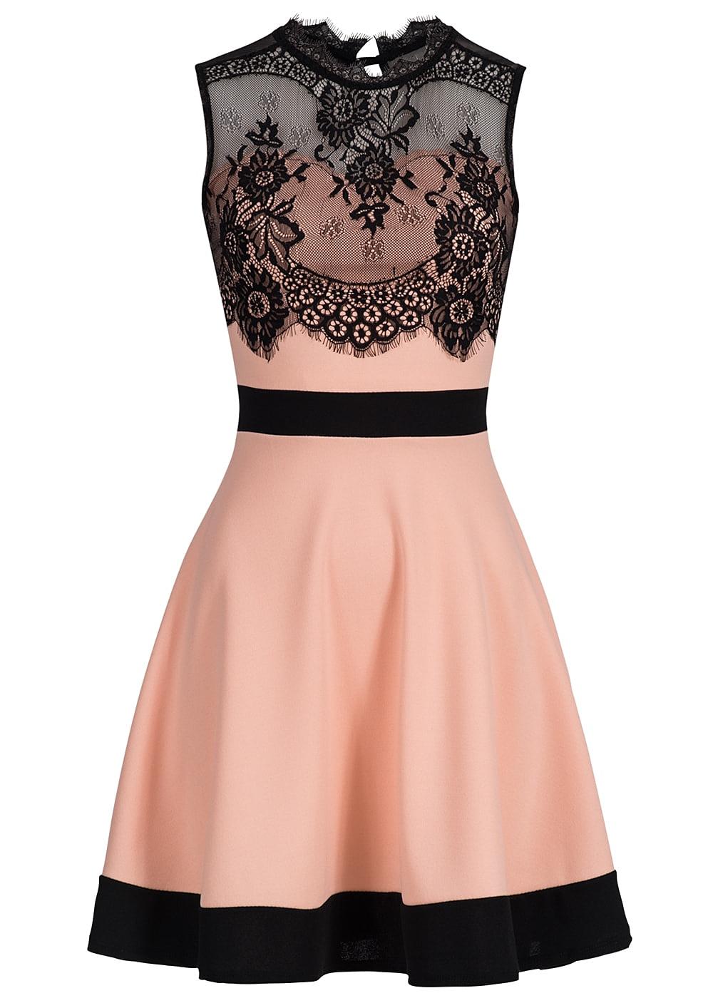 styleboom fashion damen mini kleid spitze r ckenausschnitt rosa schwarz 77onlineshop. Black Bedroom Furniture Sets. Home Design Ideas