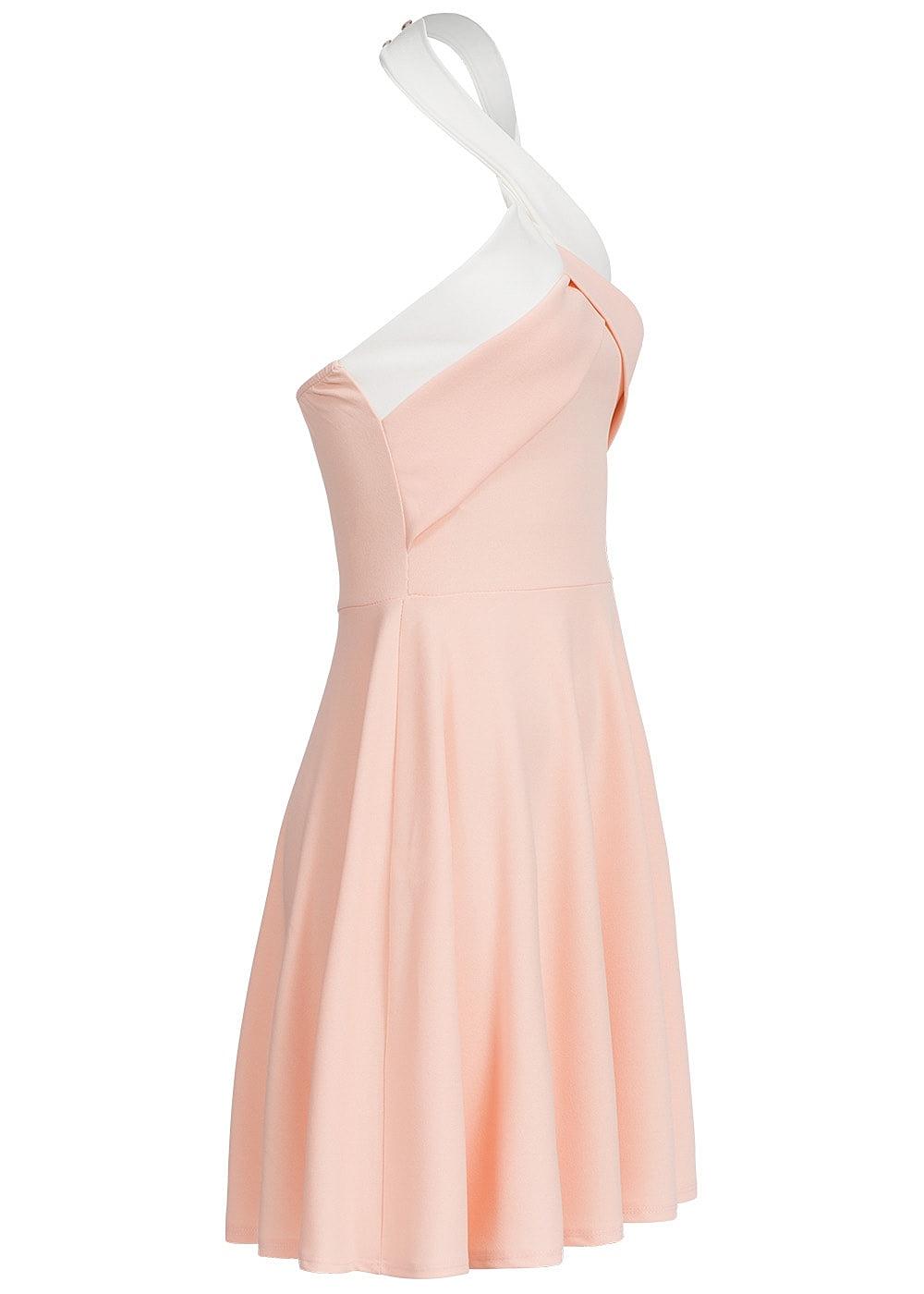 styleboom fashion damen mini neckholder kleid gummizug hinten rosa weiss 77onlineshop. Black Bedroom Furniture Sets. Home Design Ideas
