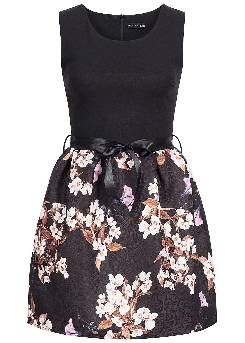 styleboom fashion damen mini kleid blumen muster bindeband zipper hinten schwarz 77onlineshop. Black Bedroom Furniture Sets. Home Design Ideas