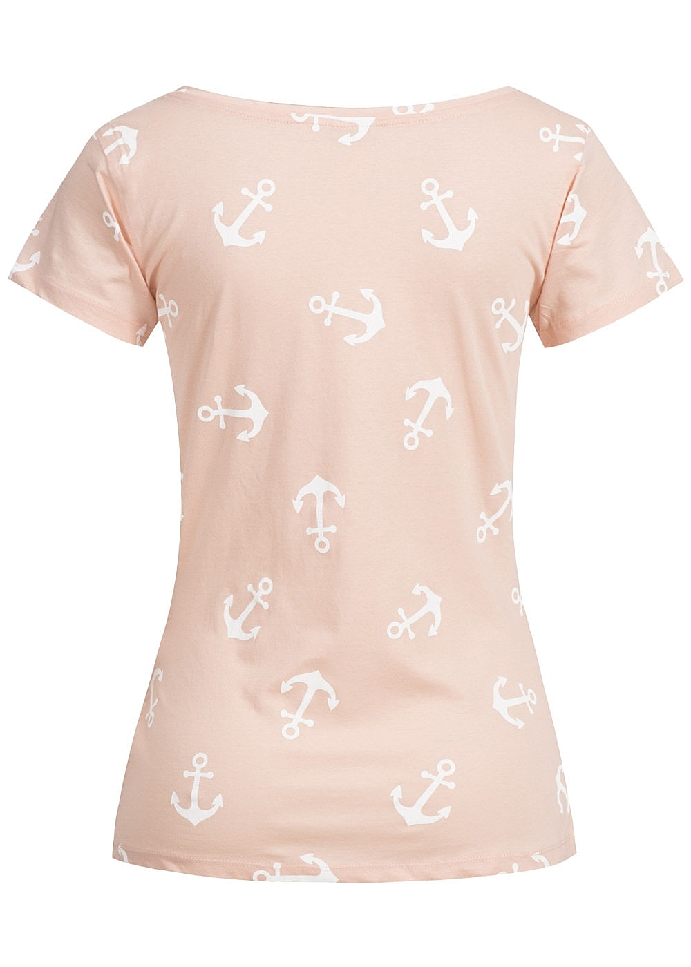 jdy by only damen t shirt rollkante anker muster cameo rosa weiss. Black Bedroom Furniture Sets. Home Design Ideas