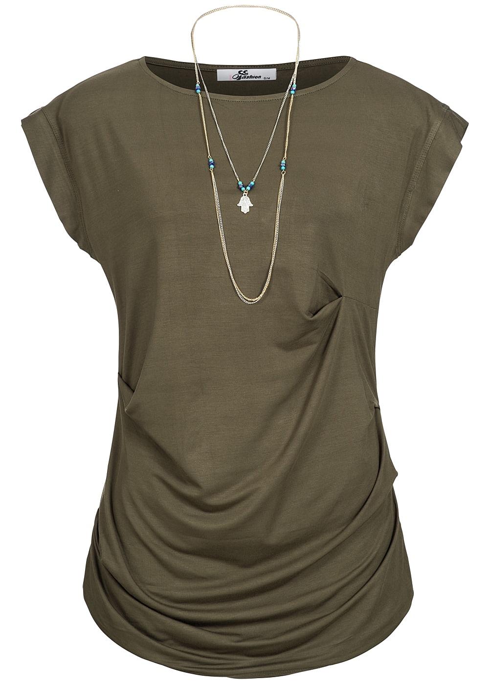 seventyseven lifestyle t shirt damen shirt mit kette kurzarm olive. Black Bedroom Furniture Sets. Home Design Ideas