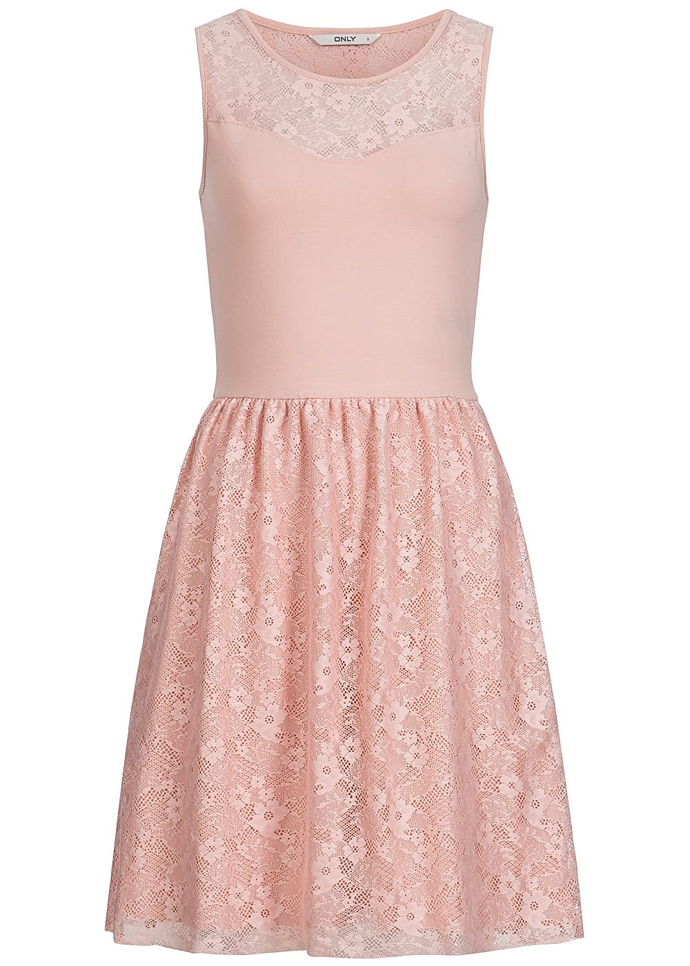 ONLY Damen Midi Kleid 2-lagig Spitze peach whip rosa - 77onlineshop