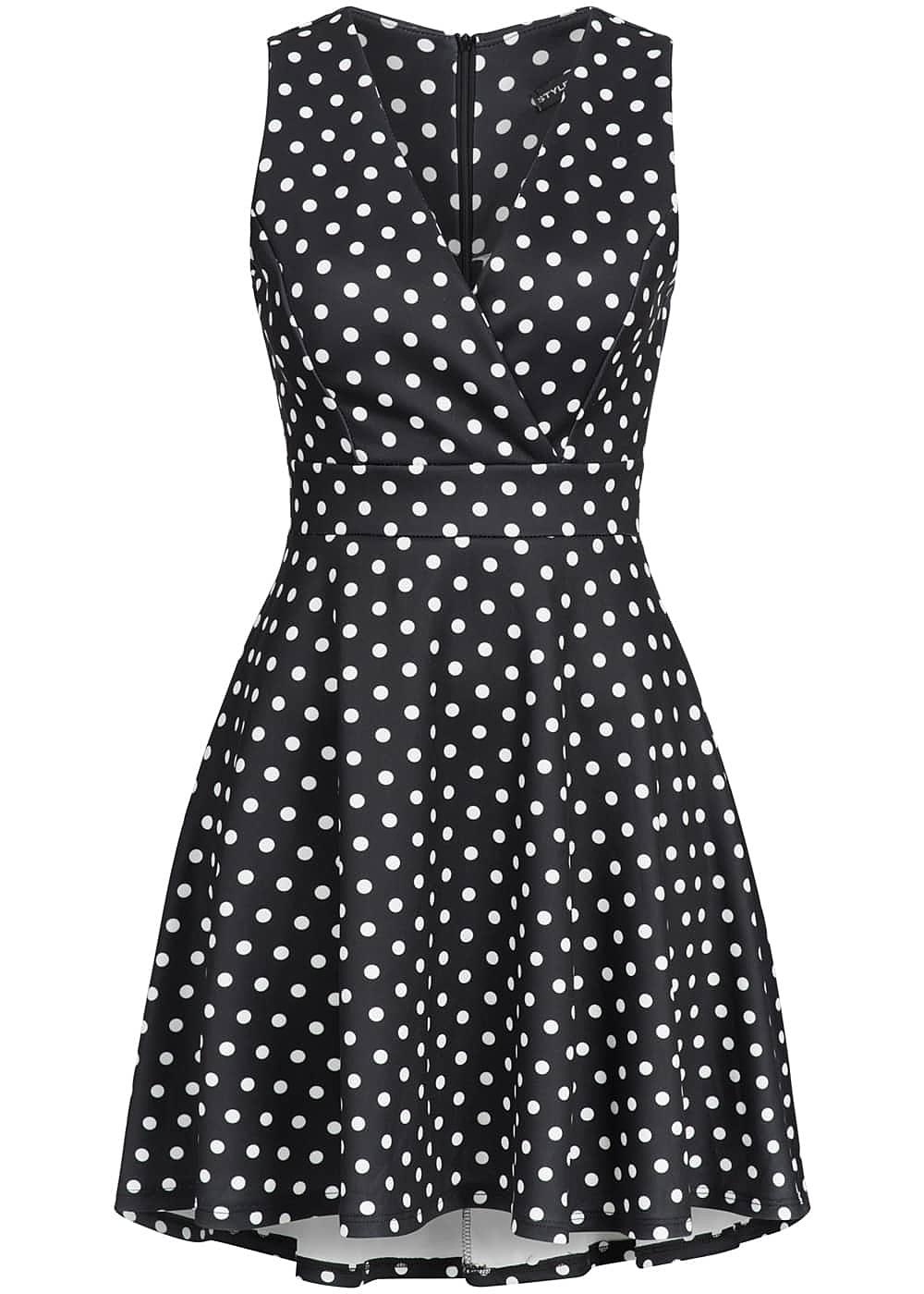 styleboom fashion damen mini kleid punkte muster zipper. Black Bedroom Furniture Sets. Home Design Ideas