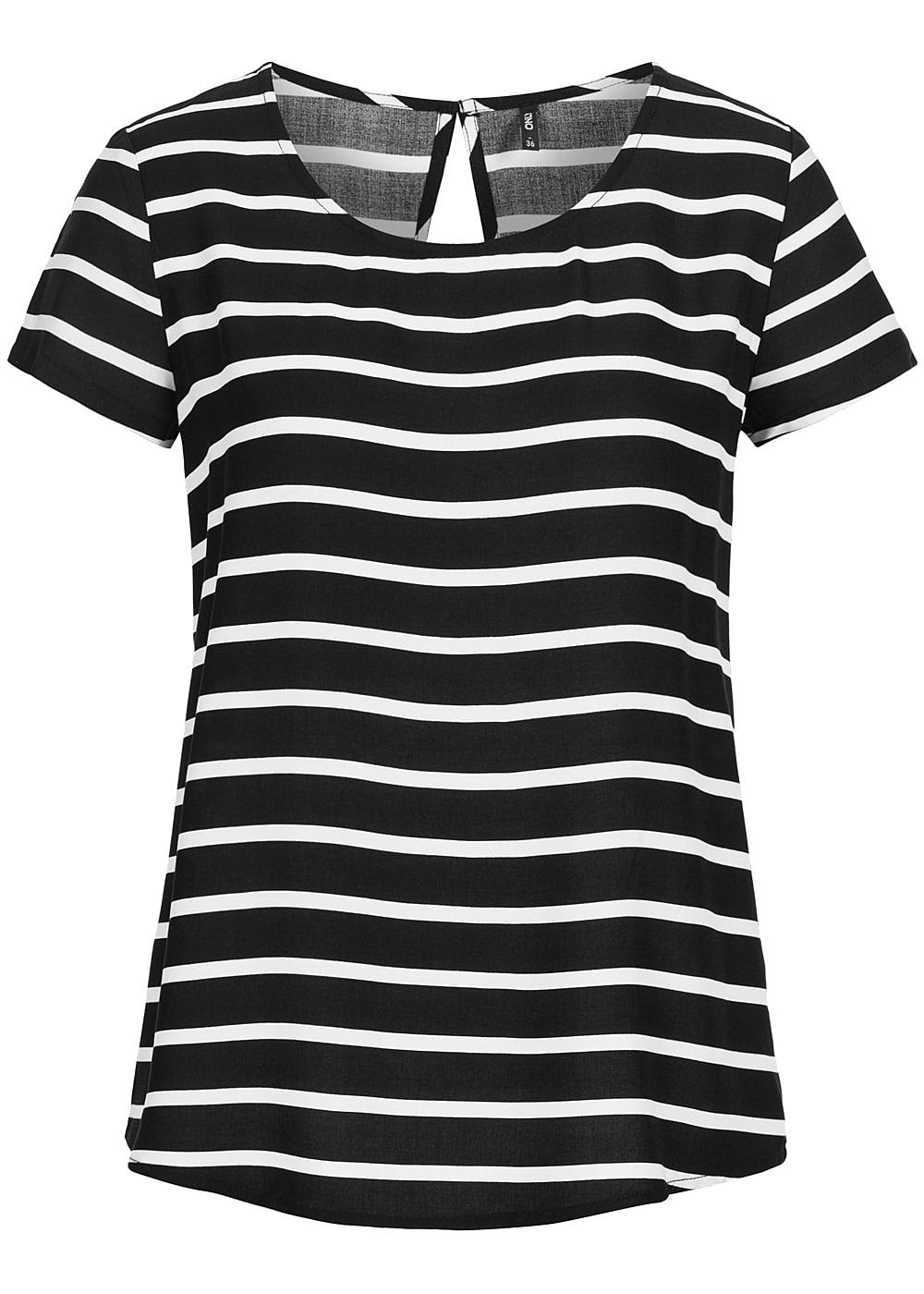 only damen shirt schlitz hinten lockerer schnitt gestreift schwarz cloud weiss 77onlineshop. Black Bedroom Furniture Sets. Home Design Ideas