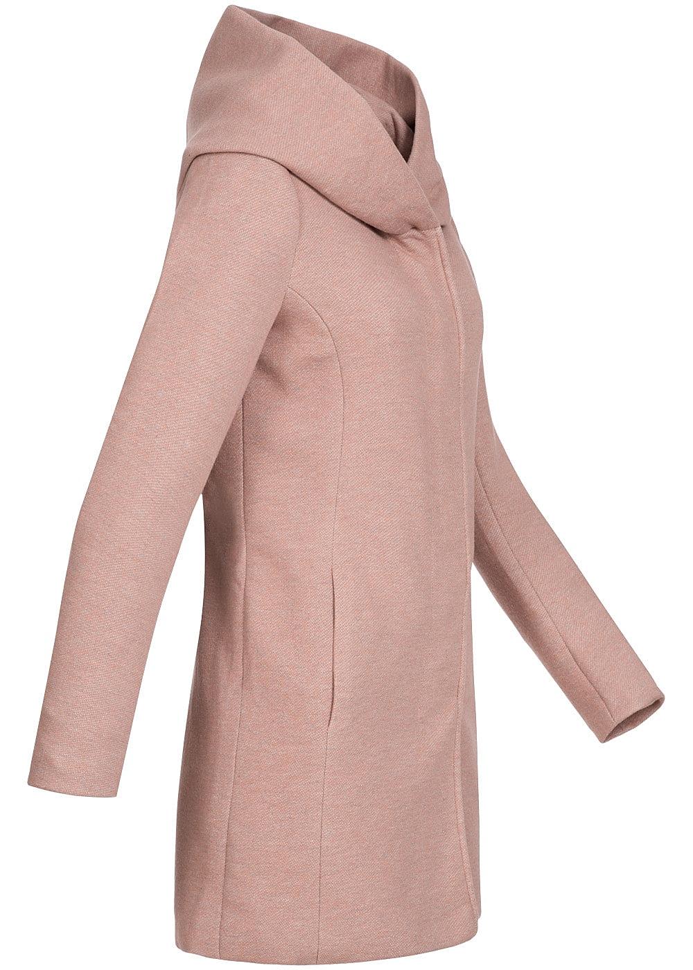 only damen bergangs mantel 2 taschen vorne kapuze noos mocha mousse rosa 77onlineshop. Black Bedroom Furniture Sets. Home Design Ideas