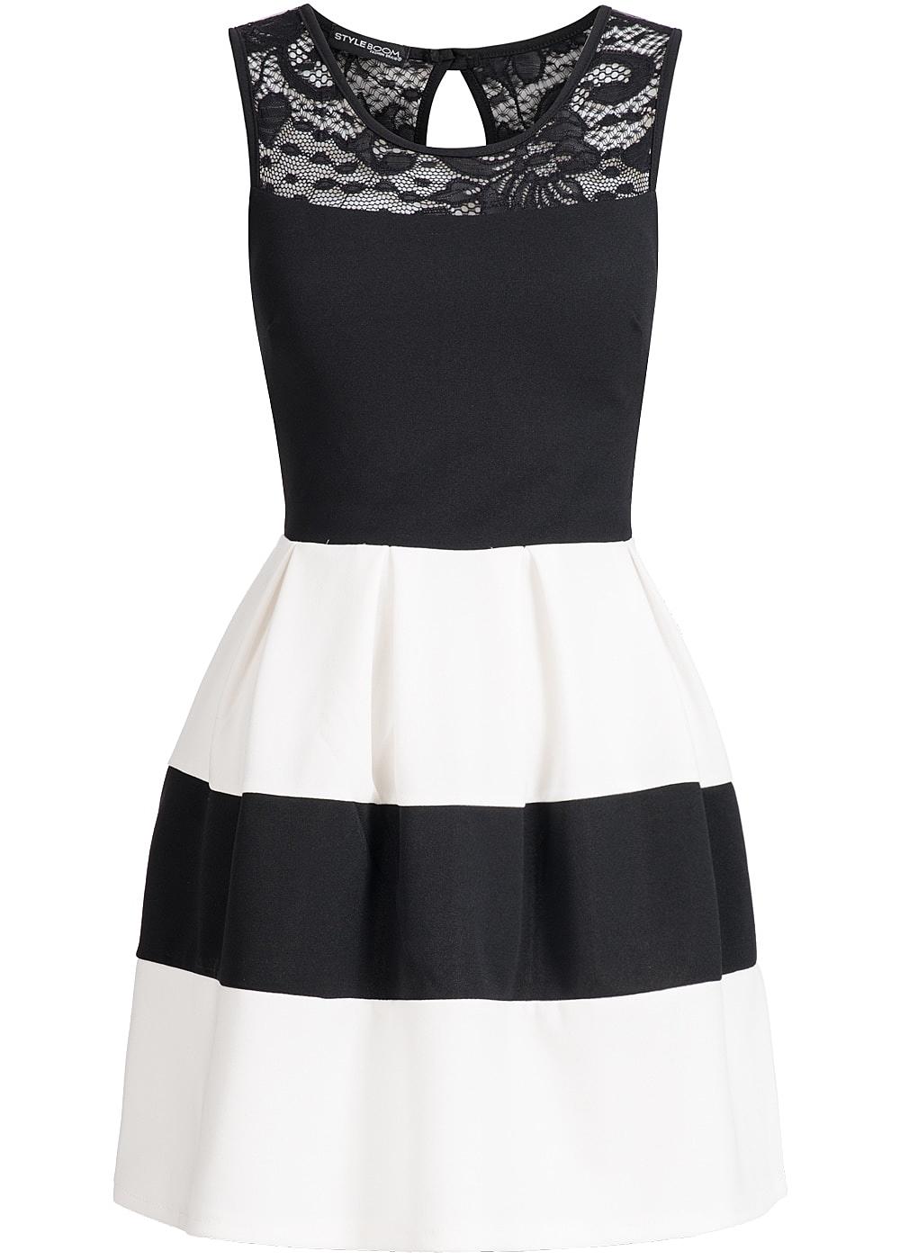 styleboom fashion damen mini kleid zipper hinten brustpads spitze gestreift schwarz weiss. Black Bedroom Furniture Sets. Home Design Ideas