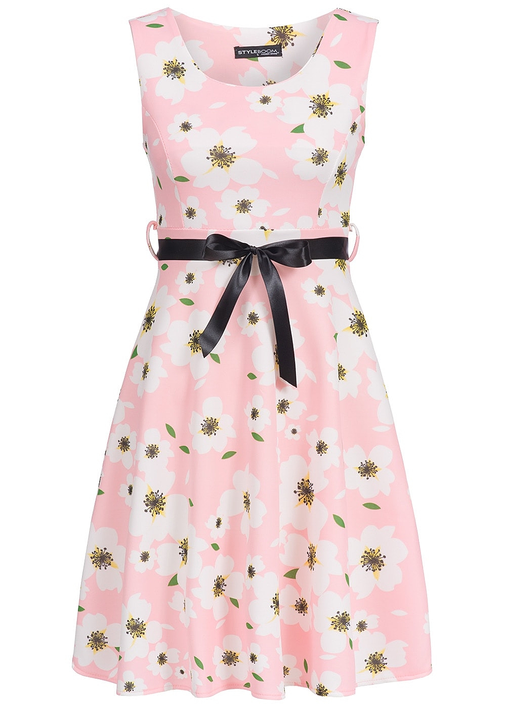 styleboom fashion damen medi kleid blumen muster bindeband rosa weiss 77onlineshop. Black Bedroom Furniture Sets. Home Design Ideas