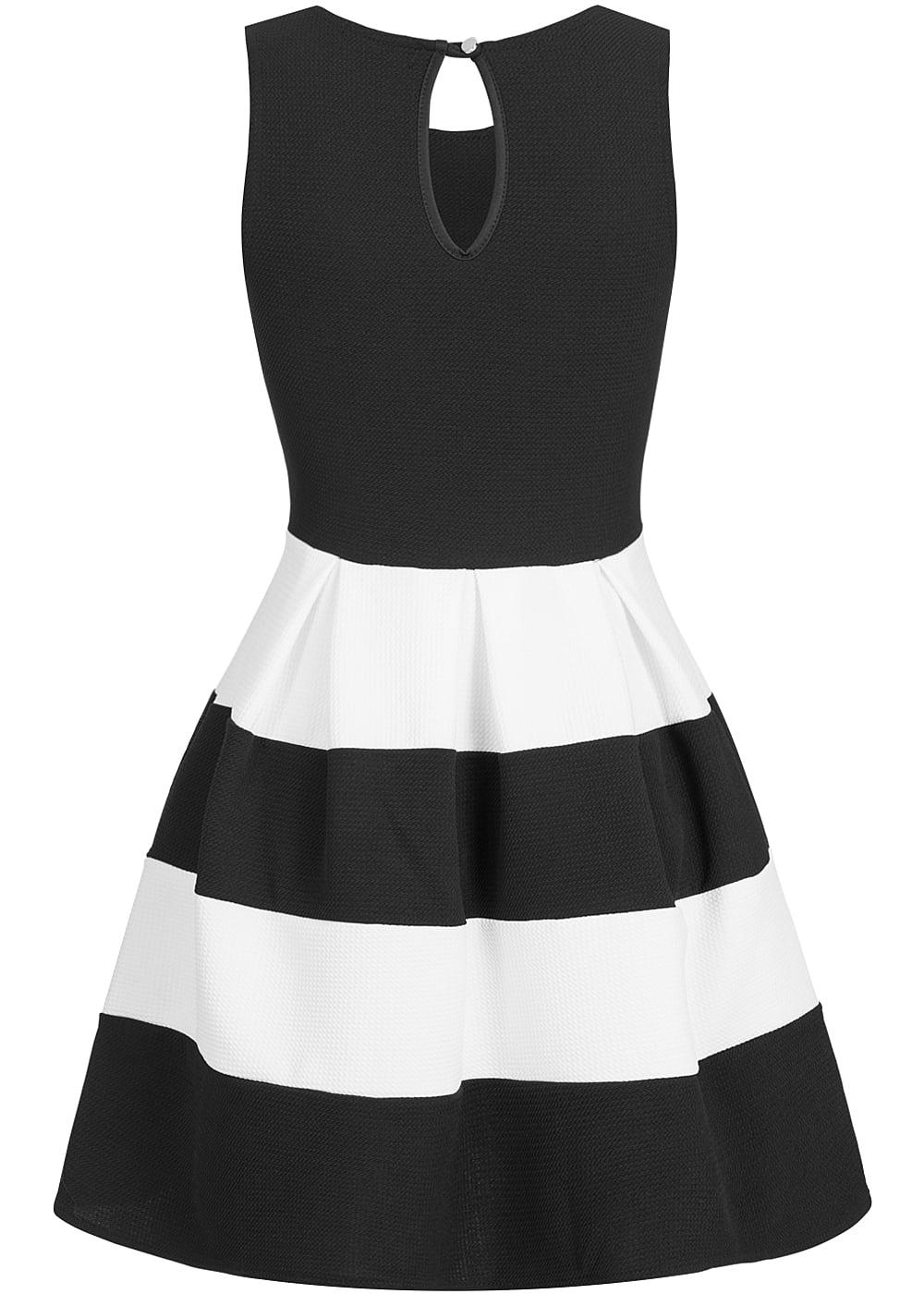 styleboom fashion damen mini cropped kleid gestreift schwarz weiss 77onlineshop. Black Bedroom Furniture Sets. Home Design Ideas