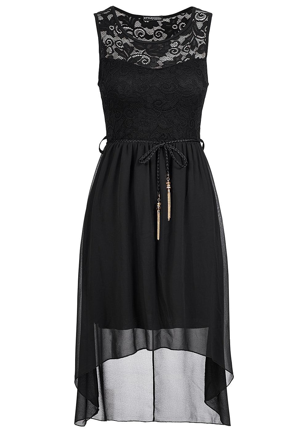 Schwarzes kleid mit spitze oben