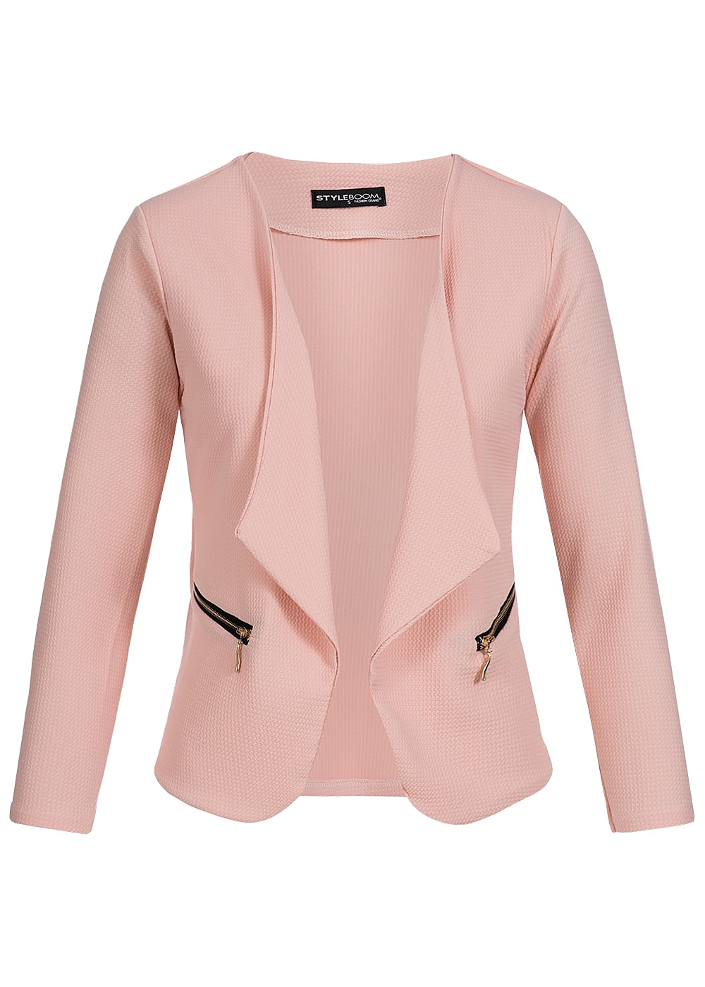 styleboom fashion damen blazer 2 zipper cropped look offener schnitt rosa 77onlineshop. Black Bedroom Furniture Sets. Home Design Ideas