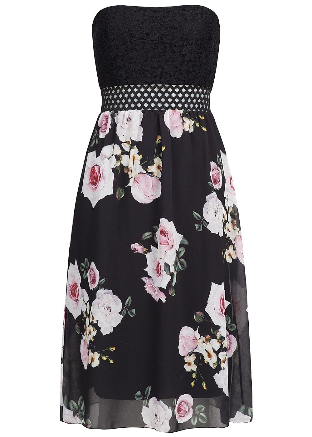 styleboom fashion damen midi bandeau kleid blumen muster brustpads gitter schwarz rosa. Black Bedroom Furniture Sets. Home Design Ideas