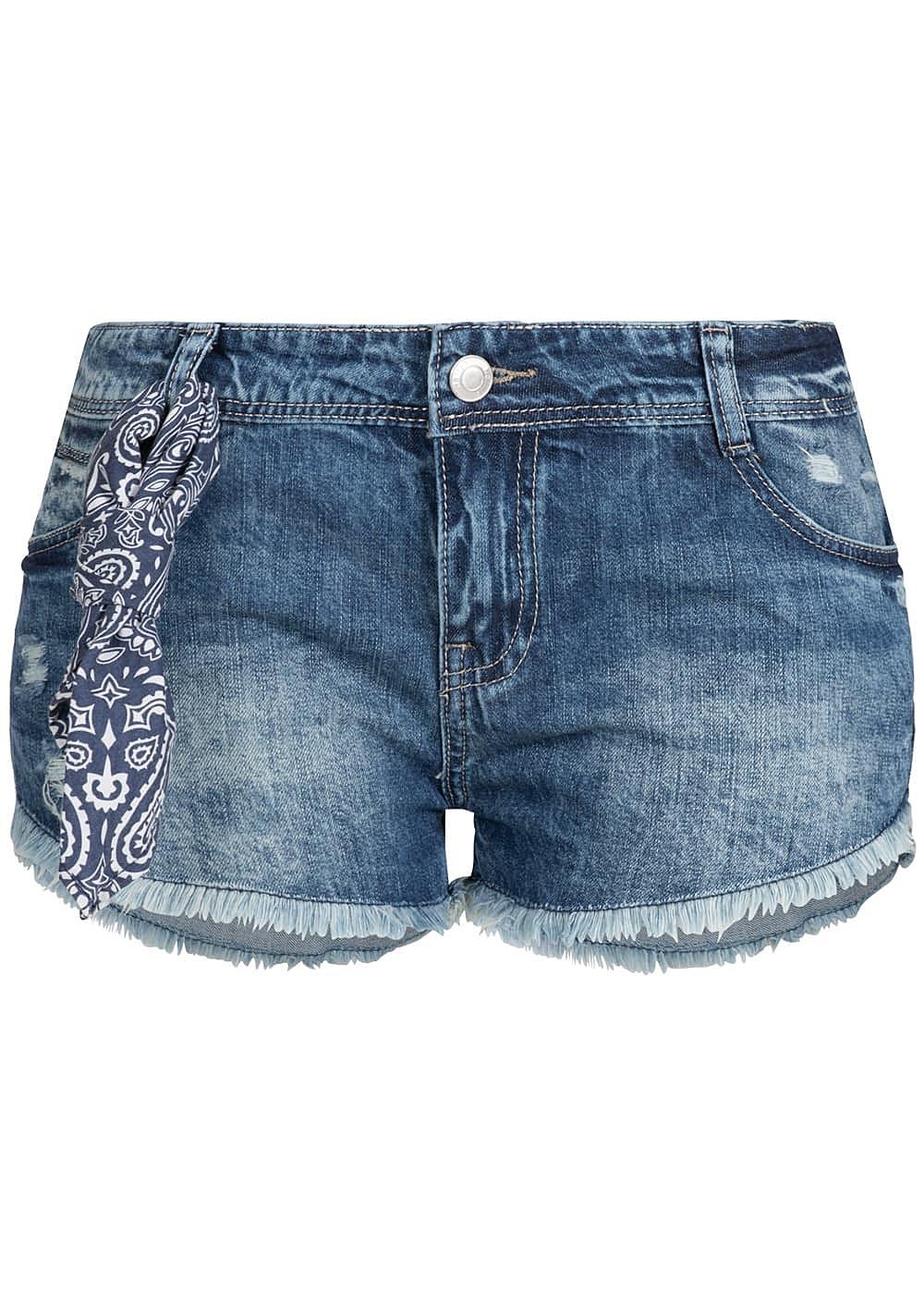hailys damen jeans short fransen mit bandana 5 pocket. Black Bedroom Furniture Sets. Home Design Ideas