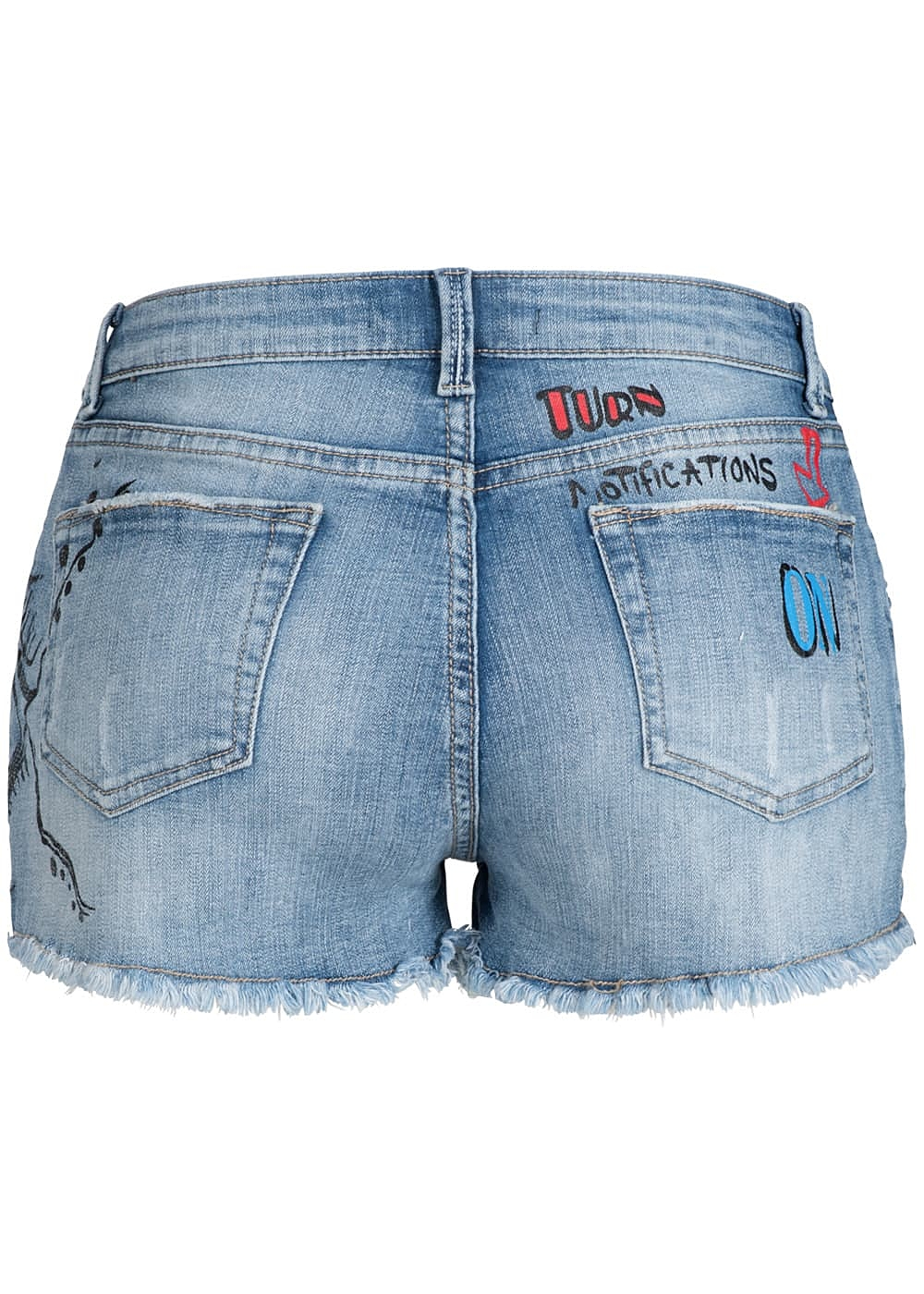 574ea152dbfdd7 Hailys Damen Jeans Short Fransen Comic Art Print destroy look blau ...