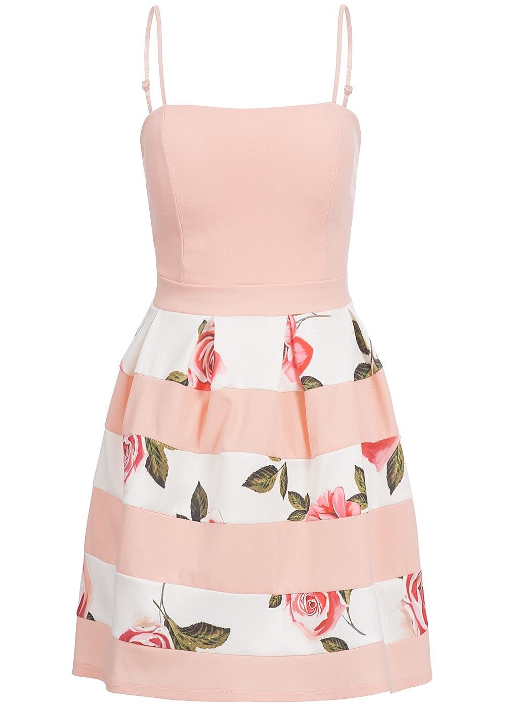 fcfb772cfe1c35 Styleboom Fashion Damen Kleid Rosen Print rosa weiss - 77onlineshop