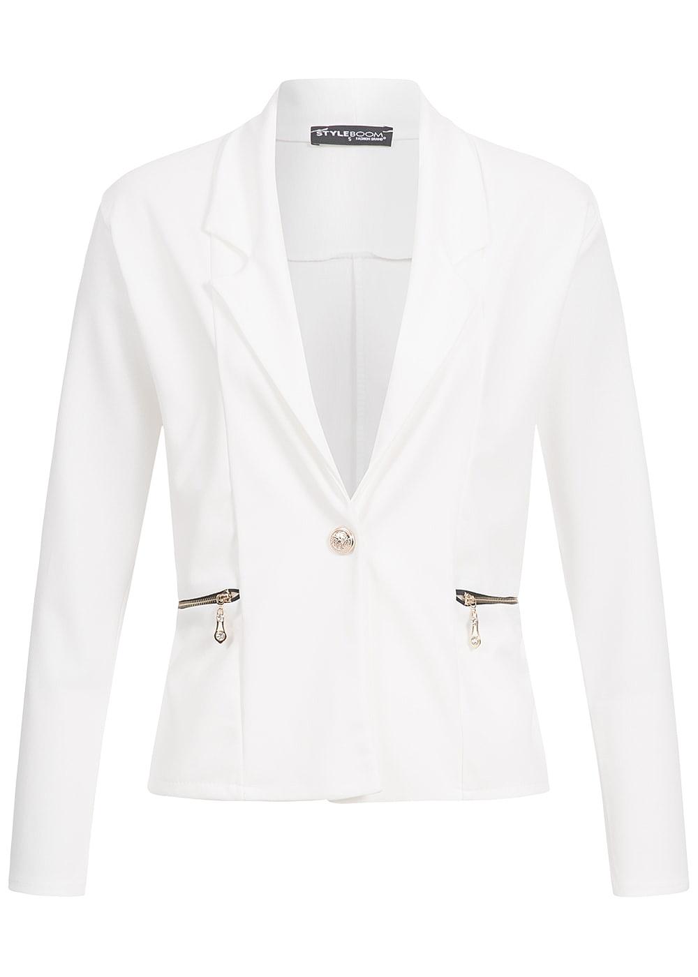 styleboom fashion damen blazer 2 taschen 1 knopf leichtes. Black Bedroom Furniture Sets. Home Design Ideas