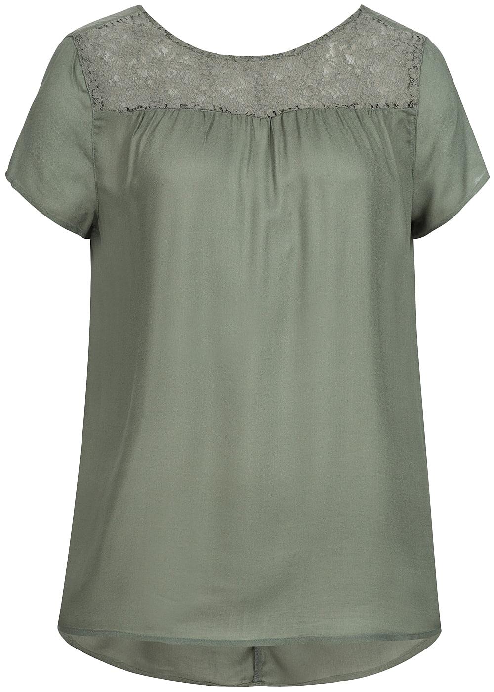 only damen blusen top spitze oben agave gr n 77onlineshop. Black Bedroom Furniture Sets. Home Design Ideas
