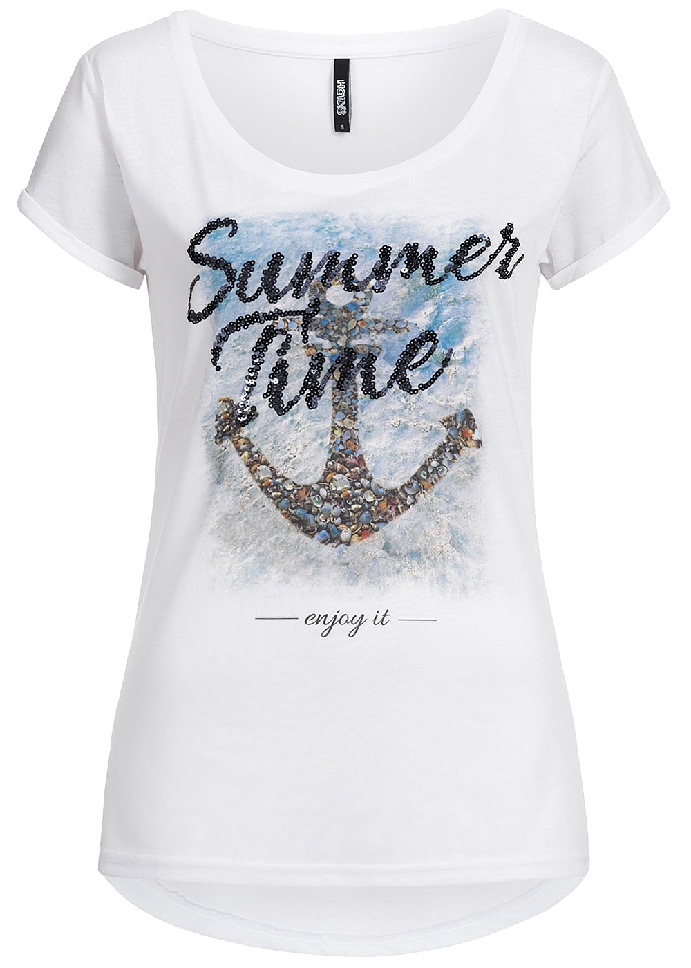hailys damen t shirt summer time print pailetten weiss. Black Bedroom Furniture Sets. Home Design Ideas