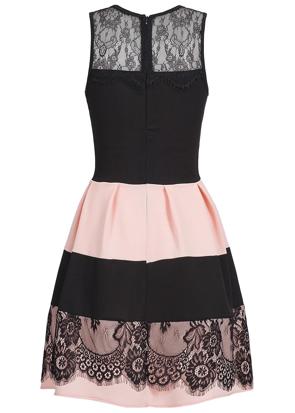 Hailys Damen Kleid Netz Optik Spitze gestreift rosa ...