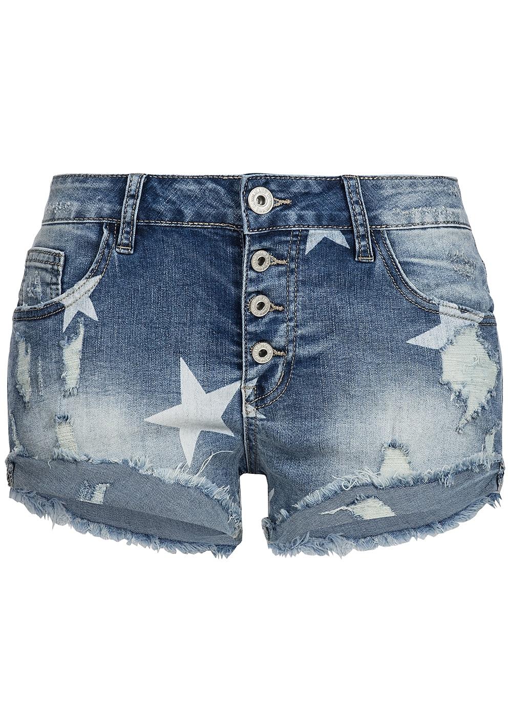 hailys damen jeans short sternen muster destroy look blue denim 77onlineshop. Black Bedroom Furniture Sets. Home Design Ideas
