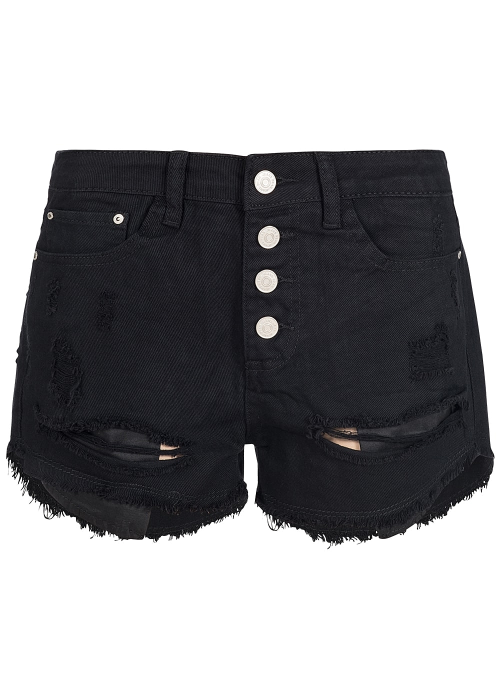 hailys damen jeans short destroy look 5 pockets knopfreihe schwarz 77onlineshop. Black Bedroom Furniture Sets. Home Design Ideas