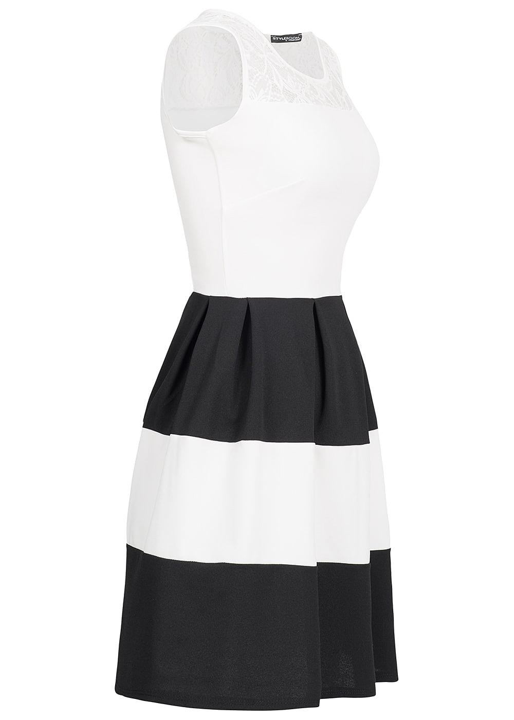 styleboom fashion damen kleid spitze gestreift weiss schwarz 77onlineshop. Black Bedroom Furniture Sets. Home Design Ideas