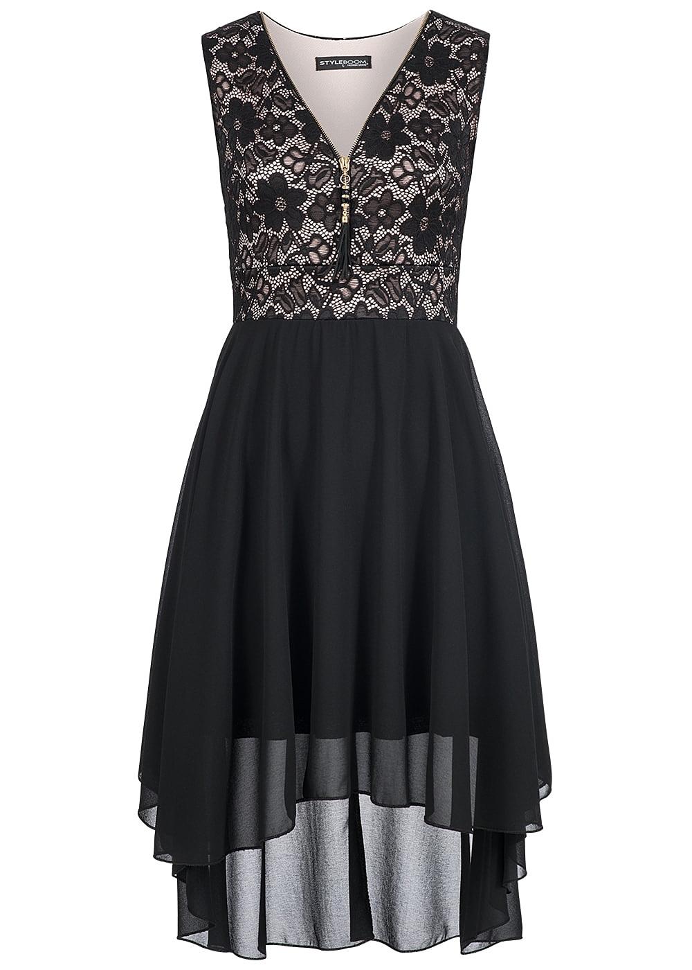 styleboom fashion damen kleid vokuhila zipper spitze. Black Bedroom Furniture Sets. Home Design Ideas