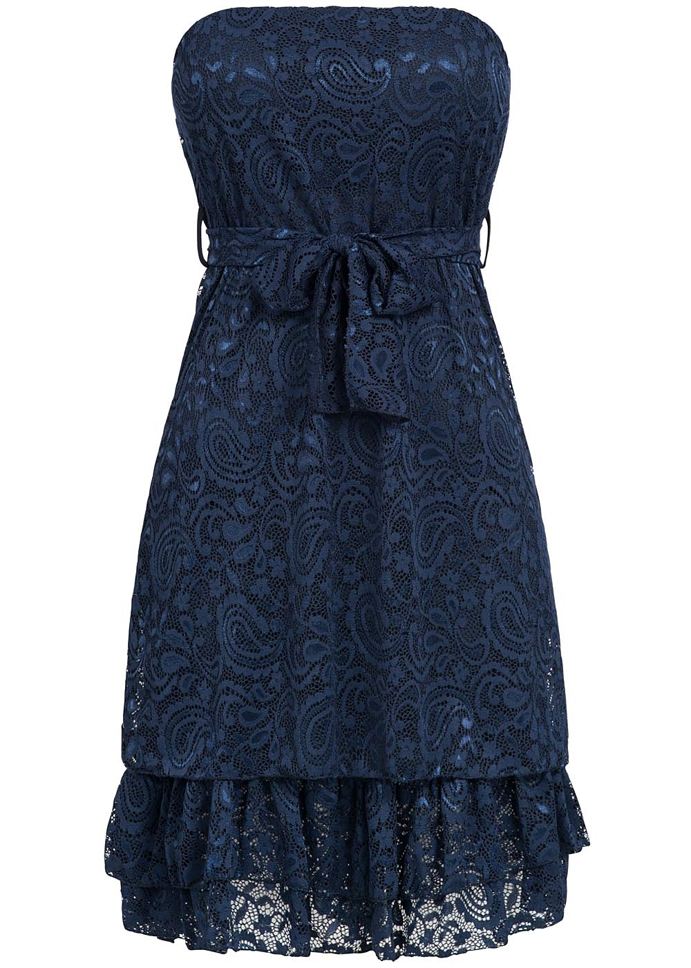 Styleboom Fashion Damen Mini Bandeau Kleid Spitze Allover ...