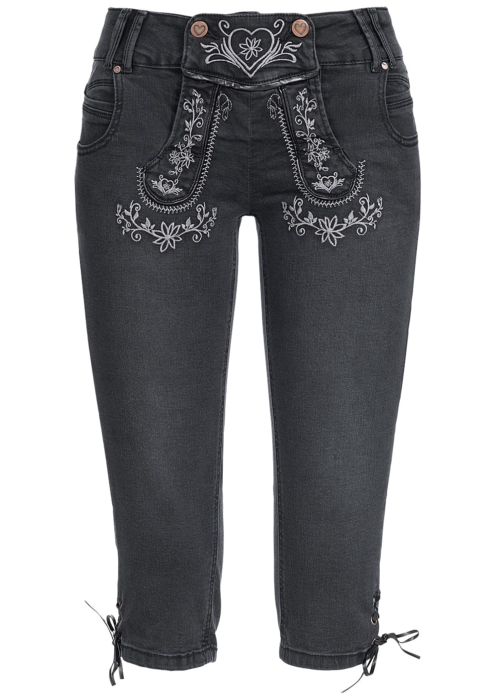 hailys damen trachten 3 4 jeans mit stickerei 5 pockets schwarz 77onlineshop. Black Bedroom Furniture Sets. Home Design Ideas