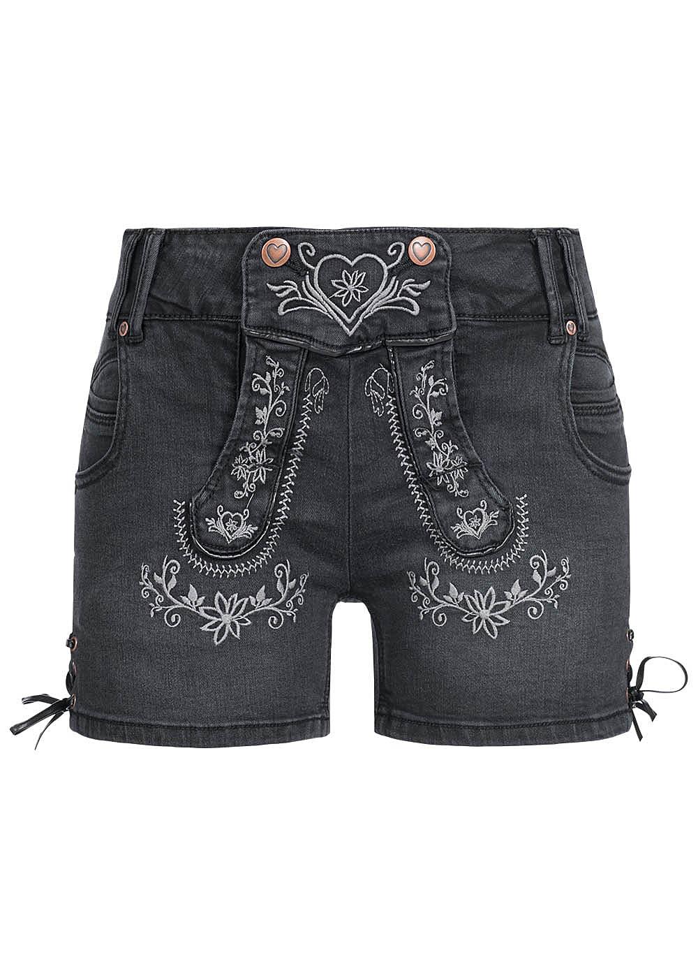 hailys damen trachten jeans short mit stickerei 5 pockets schwarz 77onlineshop. Black Bedroom Furniture Sets. Home Design Ideas