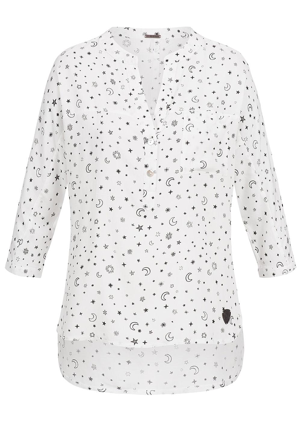 Aiki Damen Turn-Up Bluse 3/4 Ärmel Sterne Muster 3 Knöpfe Brusttasche off weiss schwarz 17084034S WH