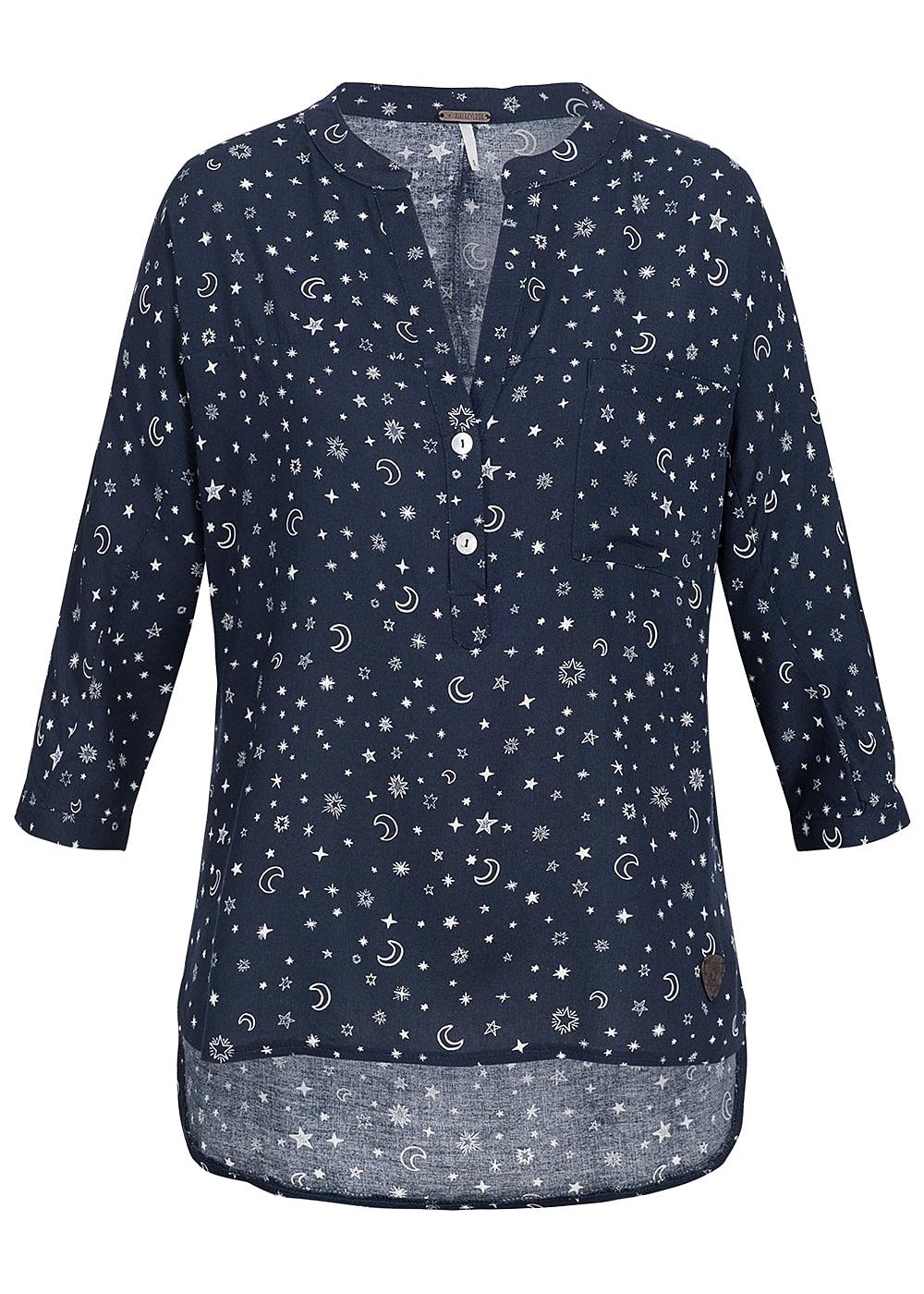 Aiki Damen Turn-Up Bluse 3/4 Ärmel Sterne Muster 3 Knöpfe Brusttasche navy blau weiss 17084035S NY