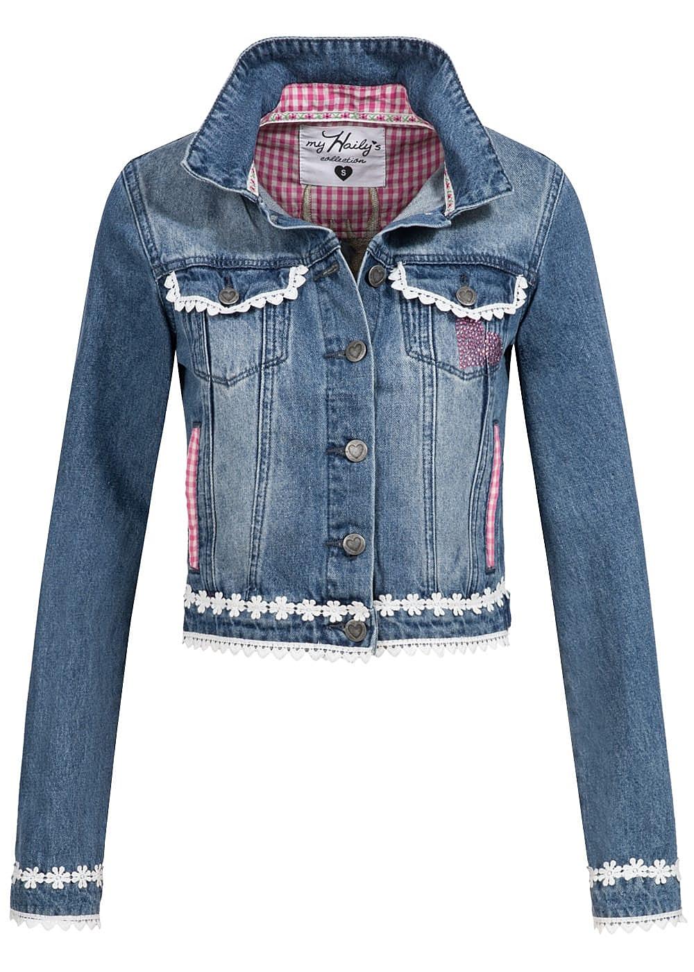 hailys damen trachten jeans jacke h keleinsatz hirschkopf stickerei kurzer schnitt blau. Black Bedroom Furniture Sets. Home Design Ideas