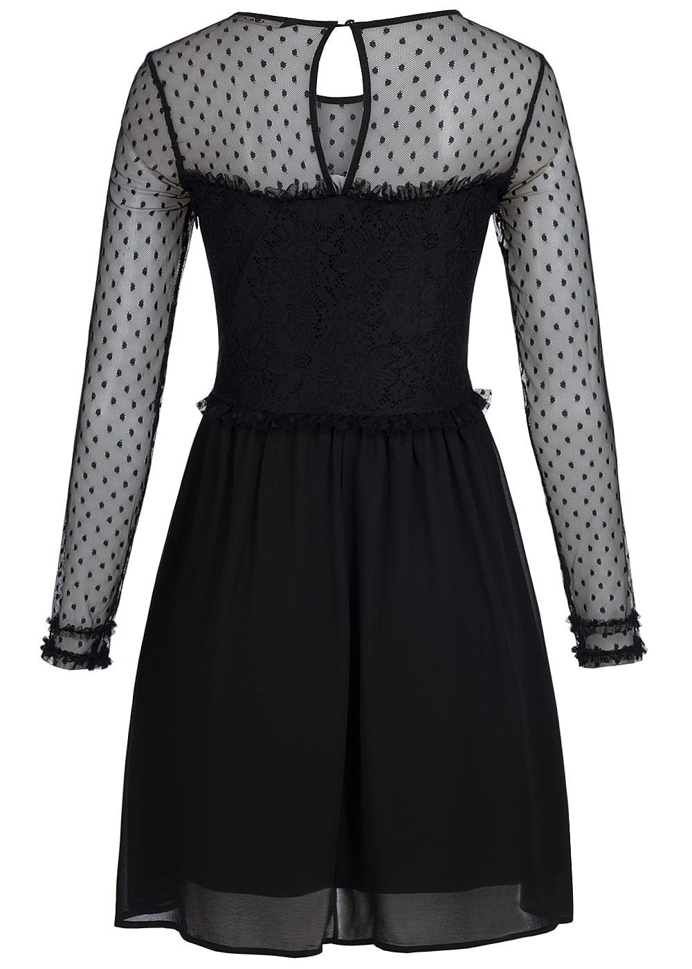 ONLY Damen Kleid Mini Mesh Spitze Blumen Muster schwarz ...