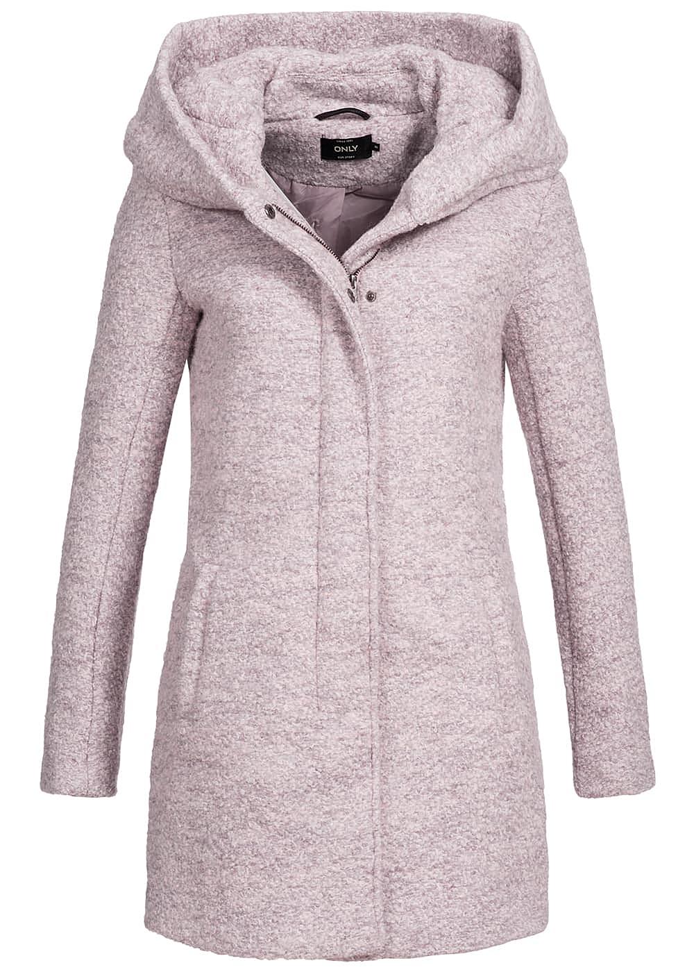 only damen mantel kapuze 2 taschen vorne warm taupe lila melange 77onlineshop. Black Bedroom Furniture Sets. Home Design Ideas