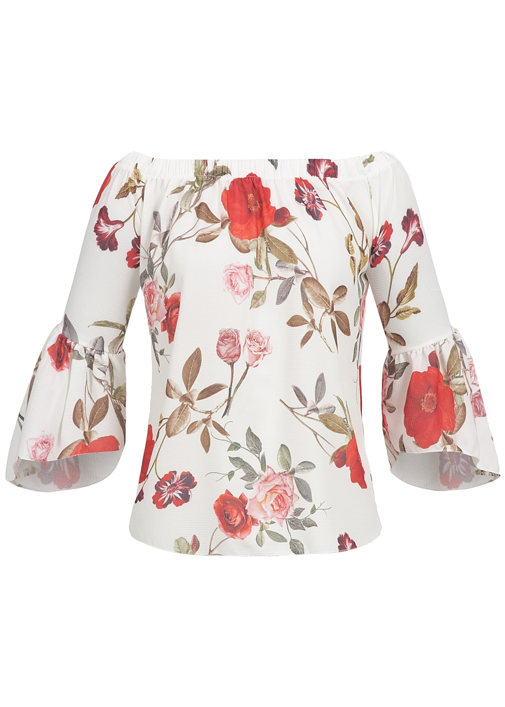 hailys damen shirt 3 4 rmel ausgestellt carmen ausschnitt blumen muster weiss 77onlineshop. Black Bedroom Furniture Sets. Home Design Ideas