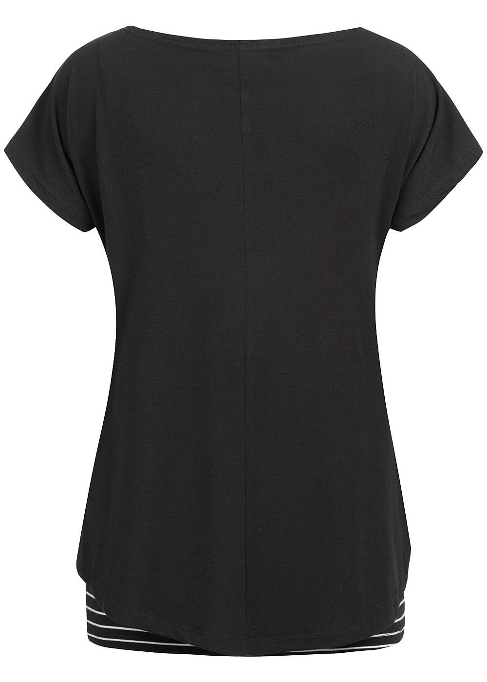 hailys damen 2in1 t shirt gestreift schwarz weiss. Black Bedroom Furniture Sets. Home Design Ideas