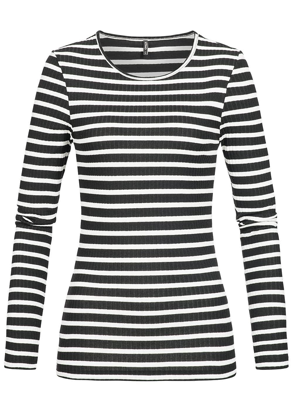 only damen longsleeve shirt rundhals gestreift schwarz cloud dancer weiss 77onlineshop. Black Bedroom Furniture Sets. Home Design Ideas