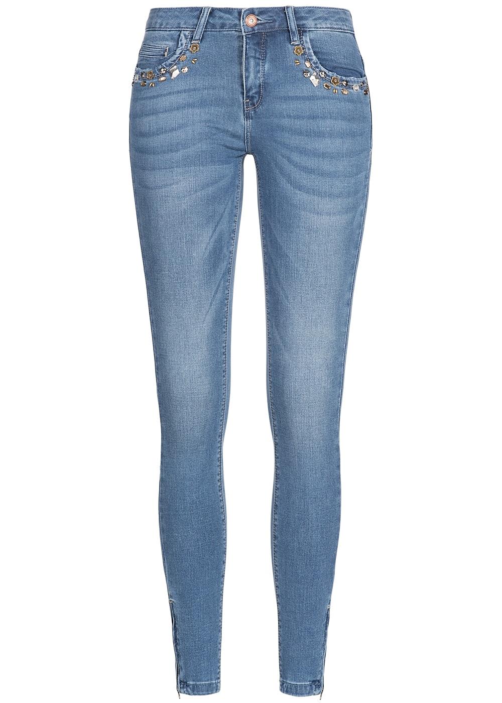 only damen jeans hose deko steine 5 pockets zipper. Black Bedroom Furniture Sets. Home Design Ideas