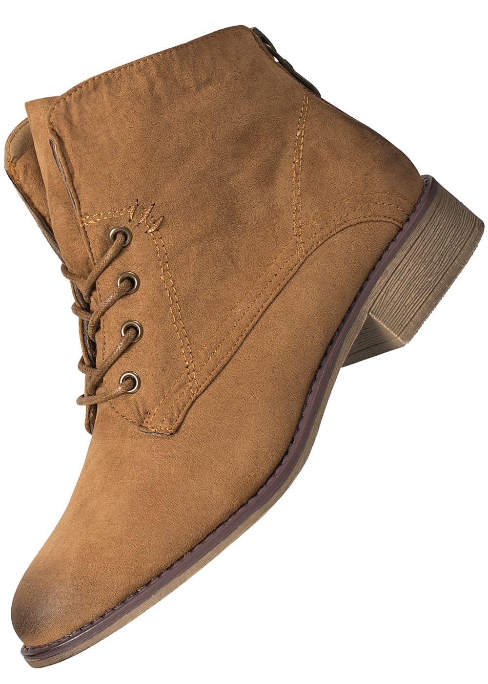 afff190a12380b Hailys Damen Schnür Boots Kunstleder Zipper hinten camel braun ...